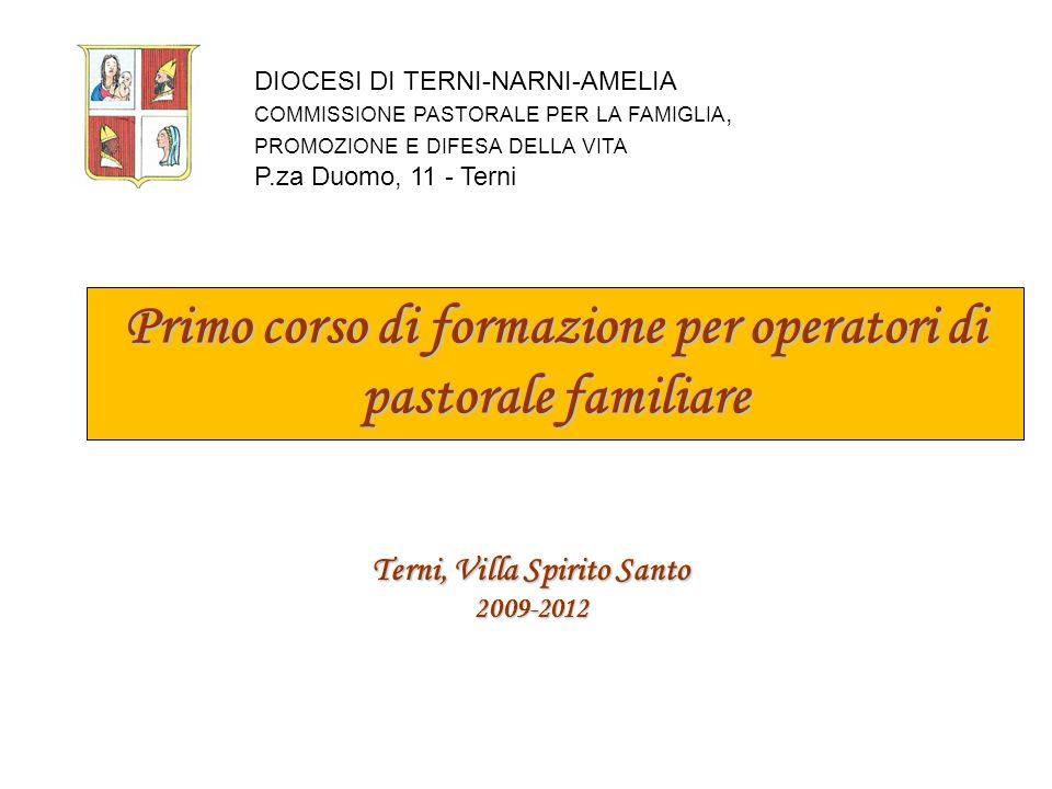 Primo corso di formazione per operatori di pastorale familiare Il corso ha avuto inizio ad ottobre 2009, per iniziativa della Commissione diocesana di Pastorale Familiare, diretta da: Giovanni e M.