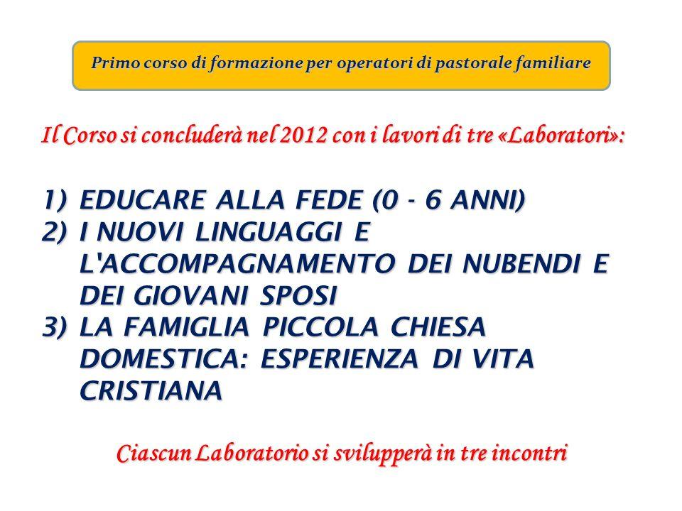 Primo corso di formazione per operatori di pastorale familiare Il Corso si concluderà nel 2012 con i lavori di tre «Laboratori»: 1)EDUCARE ALLA FEDE (