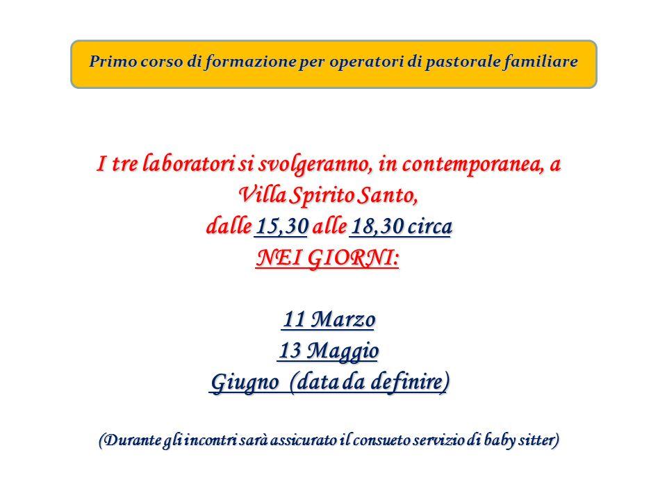 Primo corso di formazione per operatori di pastorale familiare I tre laboratori si svolgeranno, in contemporanea, a Villa Spirito Santo, dalle 15,30 a