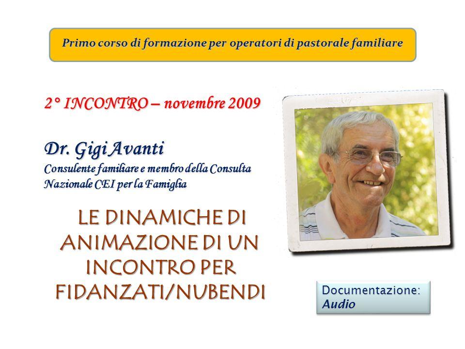 Primo corso di formazione per operatori di pastorale familiare 2° INCONTRO – novembre 2009 Dr. Gigi Avanti Consulente familiare e membro della Consult
