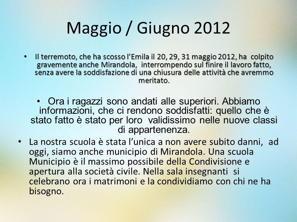 Maggio / Giugno 2012 Il terremoto, che ha scosso lEmila il 20, 29, 31 maggio 2012, ha colpito gravemente anche Mirandola, interrompendo sul finire il