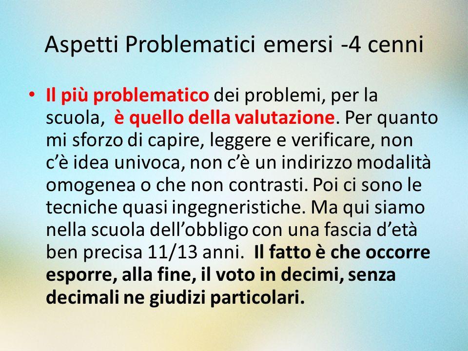 Aspetti Problematici emersi -4 cenni Il più problematico dei problemi, per la scuola, è quello della valutazione. Per quanto mi sforzo di capire, legg