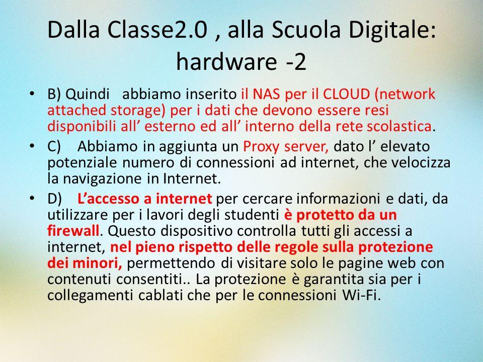 Dalla Classe2.0, alla Scuola Digitale: hardware -2 B) Quindi abbiamo inserito il NAS per il CLOUD (network attached storage) per i dati che devono ess