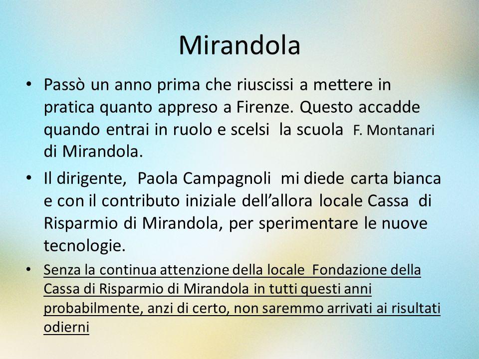Mirandola Passò un anno prima che riuscissi a mettere in pratica quanto appreso a Firenze. Questo accadde quando entrai in ruolo e scelsi la scuola F.