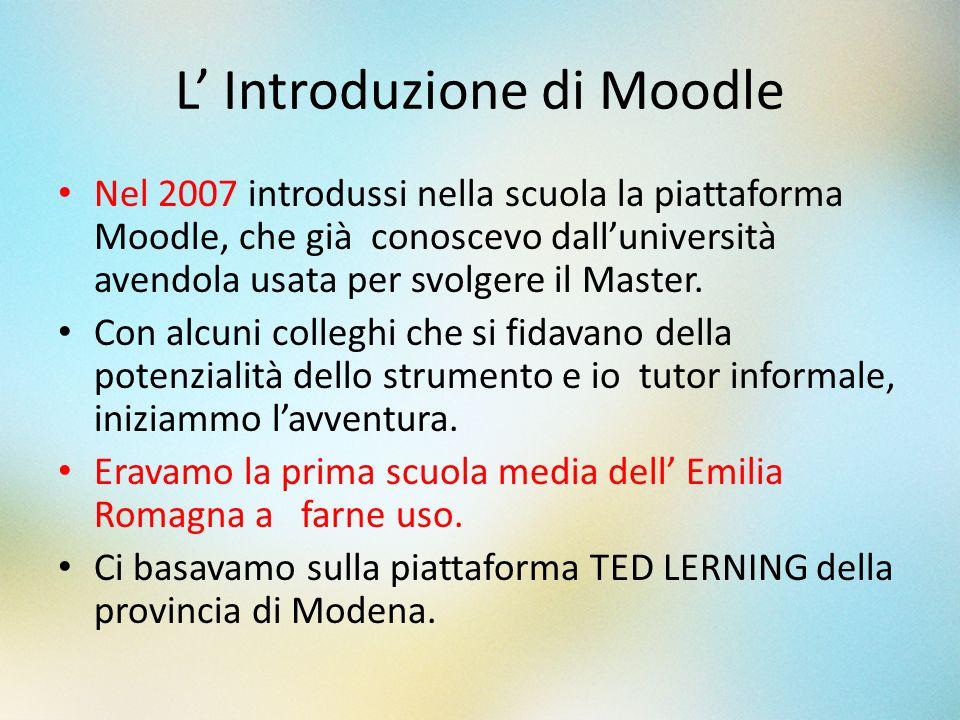 L Introduzione di Moodle Nel 2007 introdussi nella scuola la piattaforma Moodle, che già conoscevo dalluniversità avendola usata per svolgere il Maste