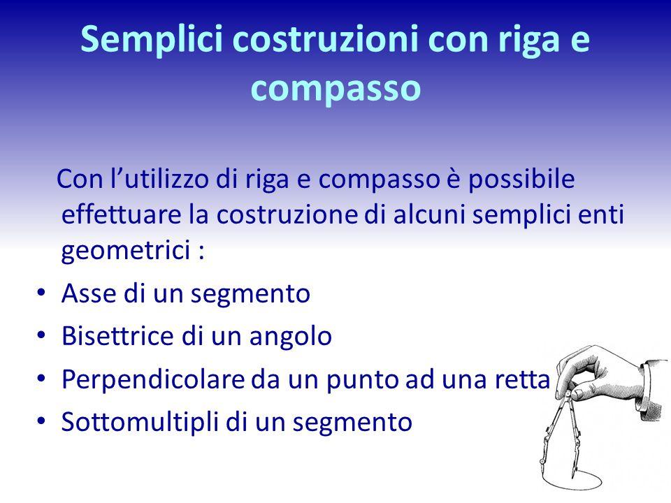 Semplici costruzioni con riga e compasso Con lutilizzo di riga e compasso è possibile effettuare la costruzione di alcuni semplici enti geometrici : A