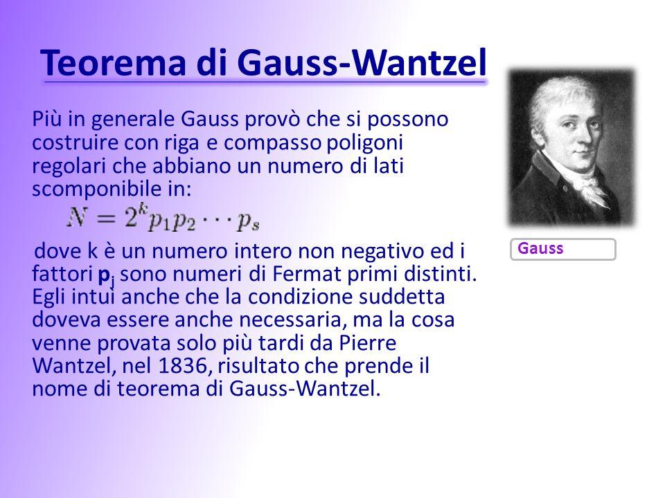 Teorema di Gauss-Wantzel Più in generale Gauss provò che si possono costruire con riga e compasso poligoni regolari che abbiano un numero di lati scom