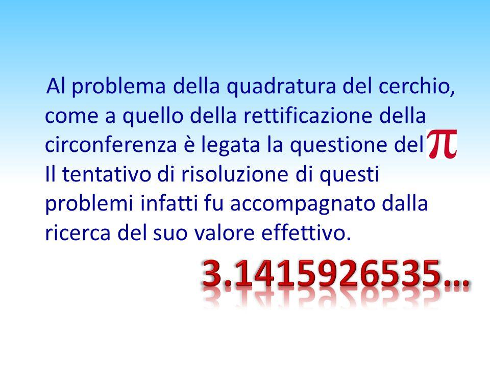 Al problema della quadratura del cerchio, come a quello della rettificazione della circonferenza è legata la questione del π. Il tentativo di risoluzi