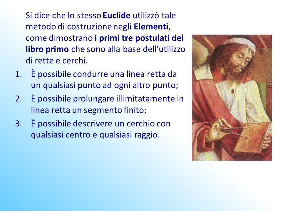 Si dice che lo stesso Euclide utilizzò tale metodo di costruzione negli Elementi, come dimostrano i primi tre postulati del libro primo che sono alla