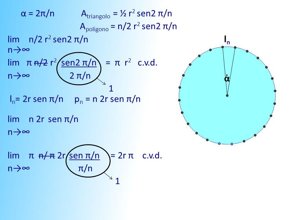 α = 2π/n A triangolo = ½ r 2 sen2 π/n A poligono = n/2 r 2 sen2 π/n lim n/2 r 2 sen2 π/n n lim π n/2 r 2 sen2 π/n = π r 2 c.v.d. n 2 π/n 1 l n = 2r se