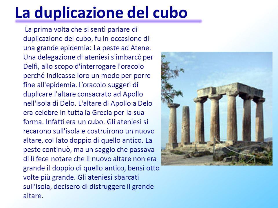 La duplicazione del cubo La prima volta che si sentì parlare di duplicazione del cubo, fu in occasione di una grande epidemia: La peste ad Atene. Una