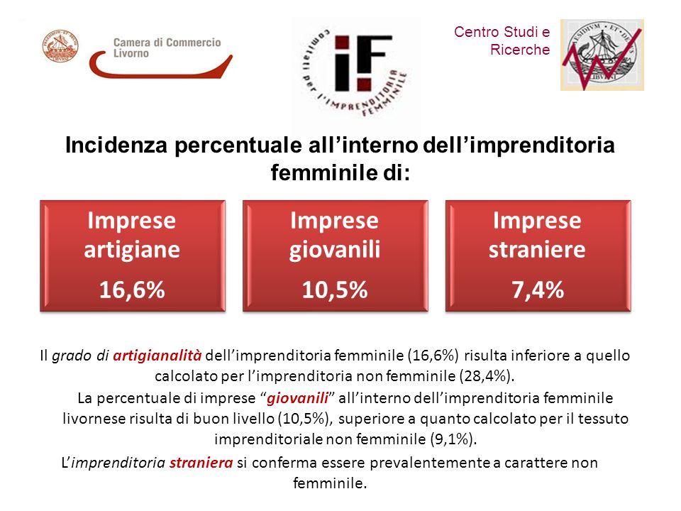 Centro Studi e Ricerche Comitato per lImprenditoria Femminile Il grado di artigianalità dellimprenditoria femminile (16,6%) risulta inferiore a quello calcolato per limprenditoria non femminile (28,4%).