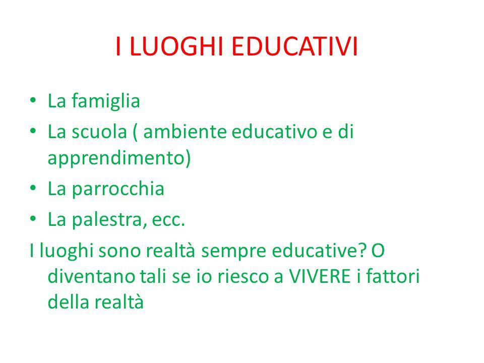 I LUOGHI EDUCATIVI La famiglia La scuola ( ambiente educativo e di apprendimento) La parrocchia La palestra, ecc.