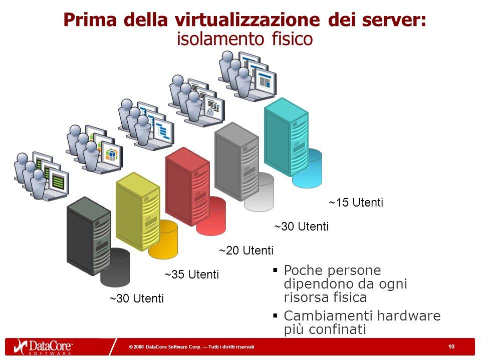 10 © 2008 DataCore Software Corp. Tutti i diritti riservati 10 © 2008 DataCore Software Corp. Tutti i diritti riservati Prima della virtualizzazione d