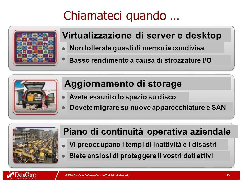 15 © 2008 DataCore Software Corp. Tutti i diritti riservati 15 © 2008 DataCore Software Corp. Tutti i diritti riservati Chiamateci quando … Virtualizi