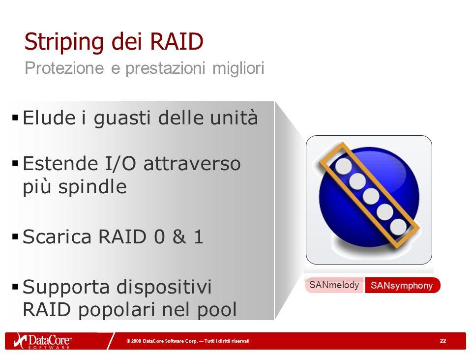 22 © 2008 DataCore Software Corp. Tutti i diritti riservati 22 © 2008 DataCore Software Corp. Tutti i diritti riservati Striping dei RAID Elude i guas
