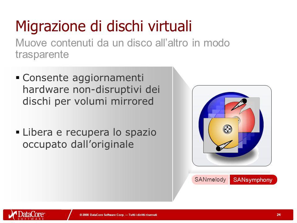 24 © 2008 DataCore Software Corp. Tutti i diritti riservati 24 © 2008 DataCore Software Corp.
