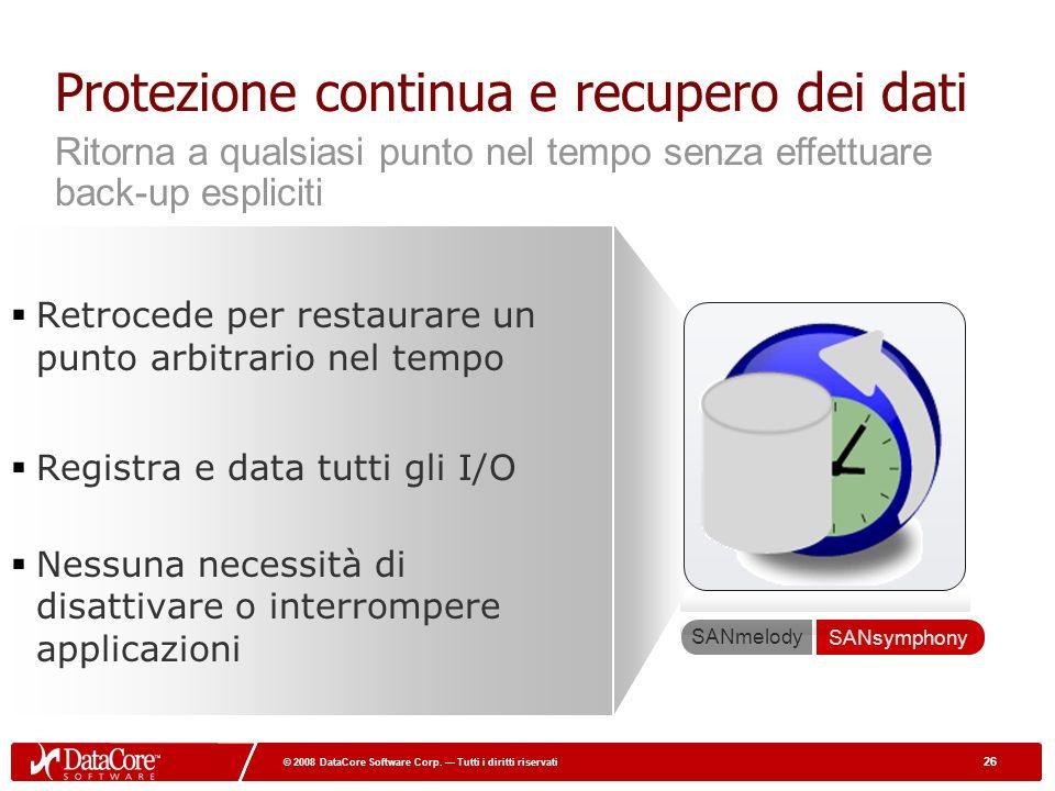 26 © 2008 DataCore Software Corp. Tutti i diritti riservati 26 © 2008 DataCore Software Corp. Tutti i diritti riservati Protezione continua e recupero