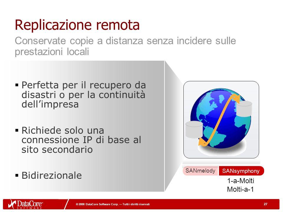 27 © 2008 DataCore Software Corp. Tutti i diritti riservati 27 © 2008 DataCore Software Corp. Tutti i diritti riservati Replicazione remota Perfetta p