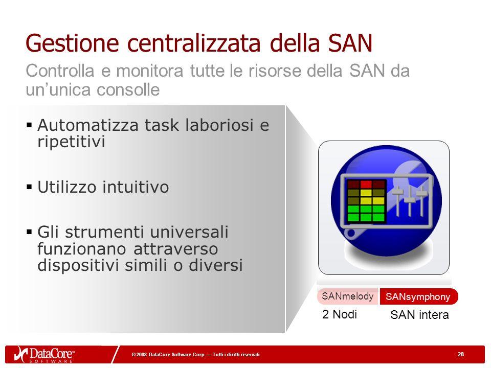 28 © 2008 DataCore Software Corp. Tutti i diritti riservati 28 © 2008 DataCore Software Corp. Tutti i diritti riservati Gestione centralizzata della S