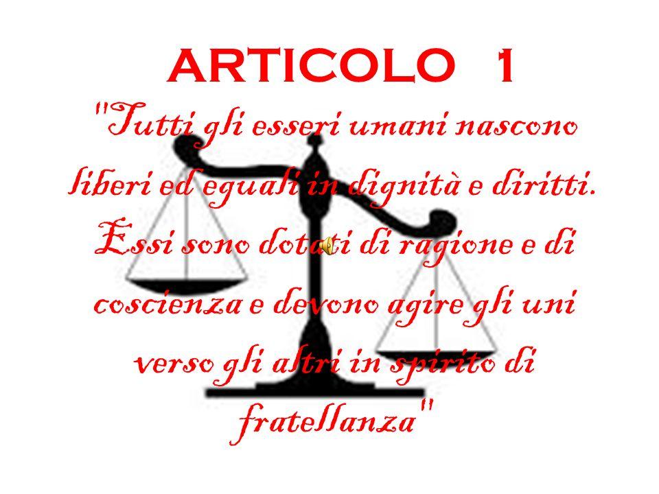 Larticolo 1 dice chiaramente qual è il fondamento dei diritti umani: è lessere umano in quanto tale.