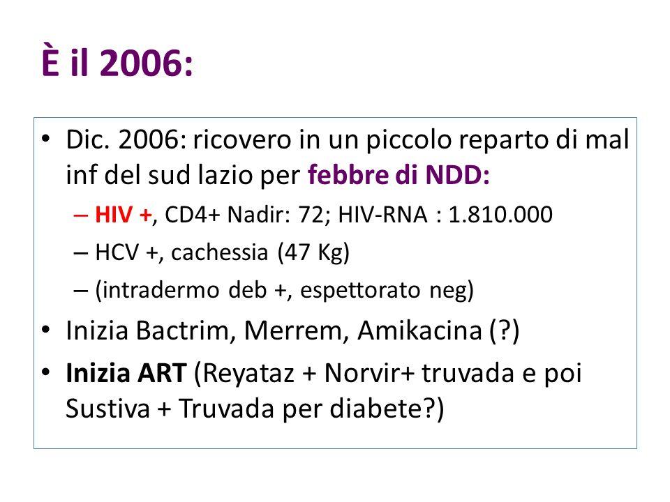 È il 2006: Dic. 2006: ricovero in un piccolo reparto di mal inf del sud lazio per febbre di NDD: – HIV +, CD4+ Nadir: 72; HIV-RNA : 1.810.000 – HCV +,