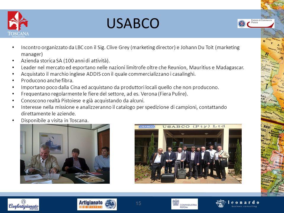 USABCO 15 Incontro organizzato da LBC con il Sig. Clive Grey (marketing director) e Johann Du Toit (marketing manager) Azienda storica SA (100 anni di