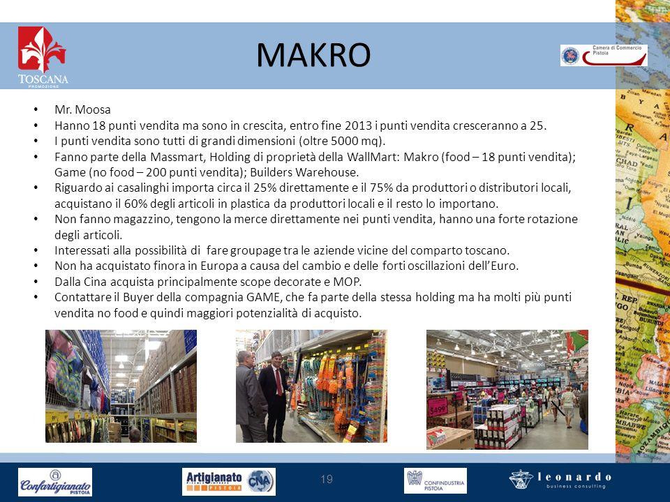 MAKRO 19 Mr. Moosa Hanno 18 punti vendita ma sono in crescita, entro fine 2013 i punti vendita cresceranno a 25. I punti vendita sono tutti di grandi
