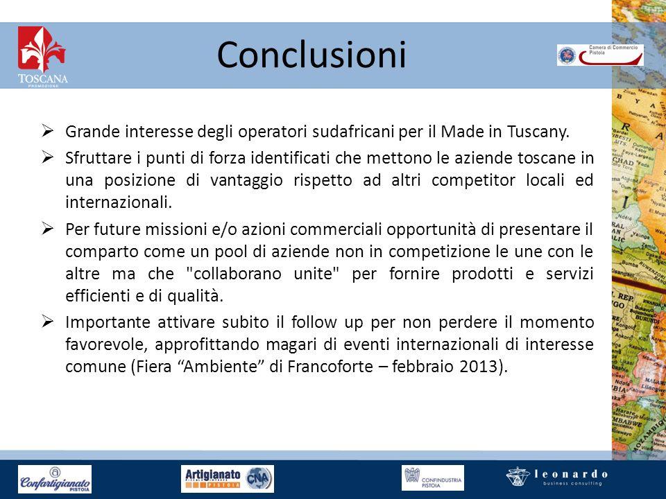 Conclusioni Grande interesse degli operatori sudafricani per il Made in Tuscany. Sfruttare i punti di forza identificati che mettono le aziende toscan