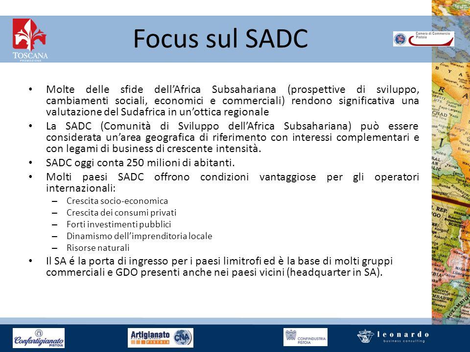 Focus sul SADC Molte delle sfide dellAfrica Subsahariana (prospettive di sviluppo, cambiamenti sociali, economici e commerciali) rendono significativa