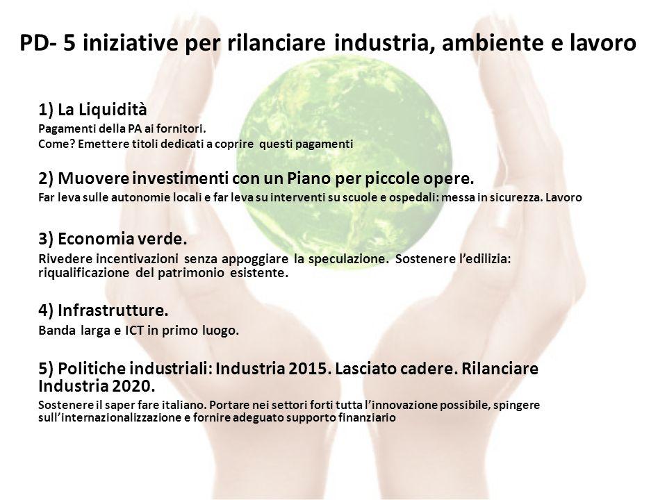 PD- 5 iniziative per rilanciare industria, ambiente e lavoro 1) La Liquidità Pagamenti della PA ai fornitori.