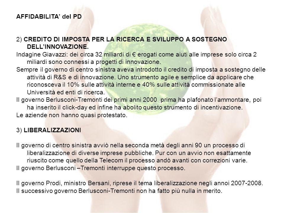 AFFIDABILITA del PD 2) CREDITO DI IMPOSTA PER LA RICERCA E SVILUPPO A SOSTEGNO DELLINNOVAZIONE.