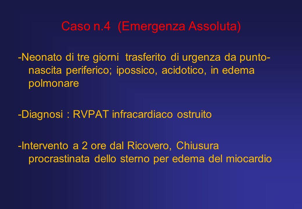 Caso n.4 (Emergenza Assoluta) -Neonato di tre giorni trasferito di urgenza da punto- nascita periferico; ipossico, acidotico, in edema polmonare -Diag