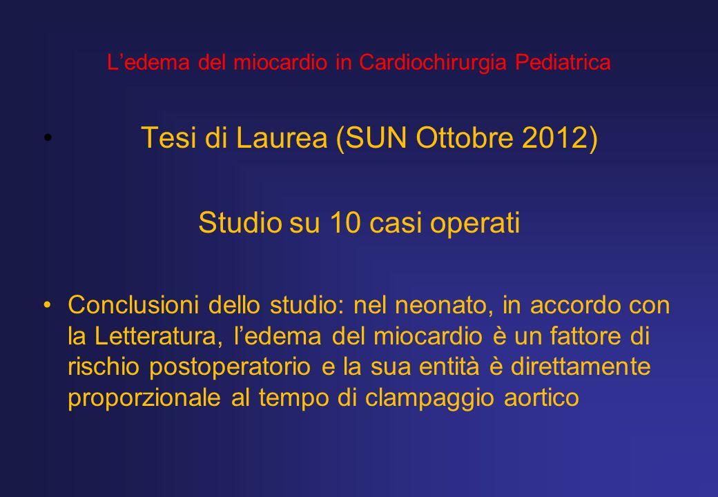 Ledema del miocardio in Cardiochirurgia Pediatrica Tesi di Laurea (SUN Ottobre 2012) Studio su 10 casi operati Conclusioni dello studio: nel neonato,