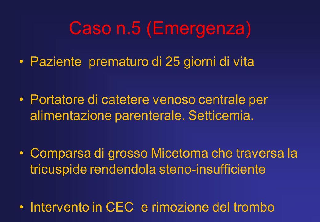 Caso n.5 (Emergenza) Paziente prematuro di 25 giorni di vita Portatore di catetere venoso centrale per alimentazione parenterale. Setticemia. Comparsa
