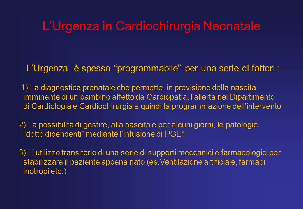LUrgenza in Cardiochirurgia Neonatale LUrgenza è spesso programmabile per una serie di fattori : 1) La diagnostica prenatale che permette, in previsio