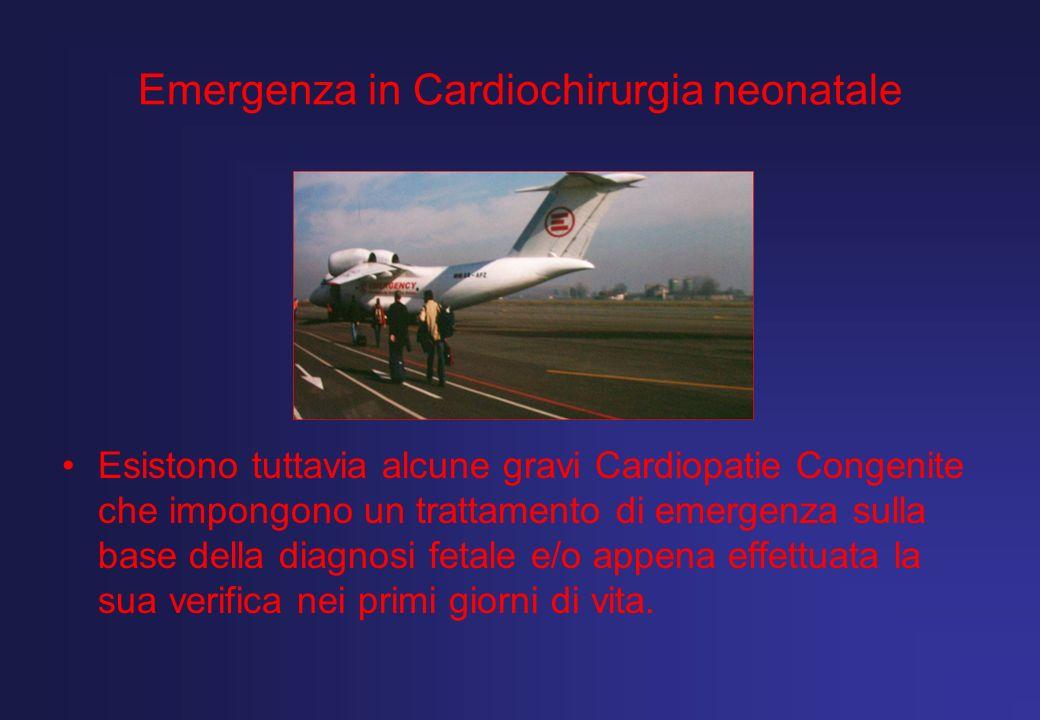 Emergenza in Cardiochirurgia neonatale Esistono tuttavia alcune gravi Cardiopatie Congenite che impongono un trattamento di emergenza sulla base della