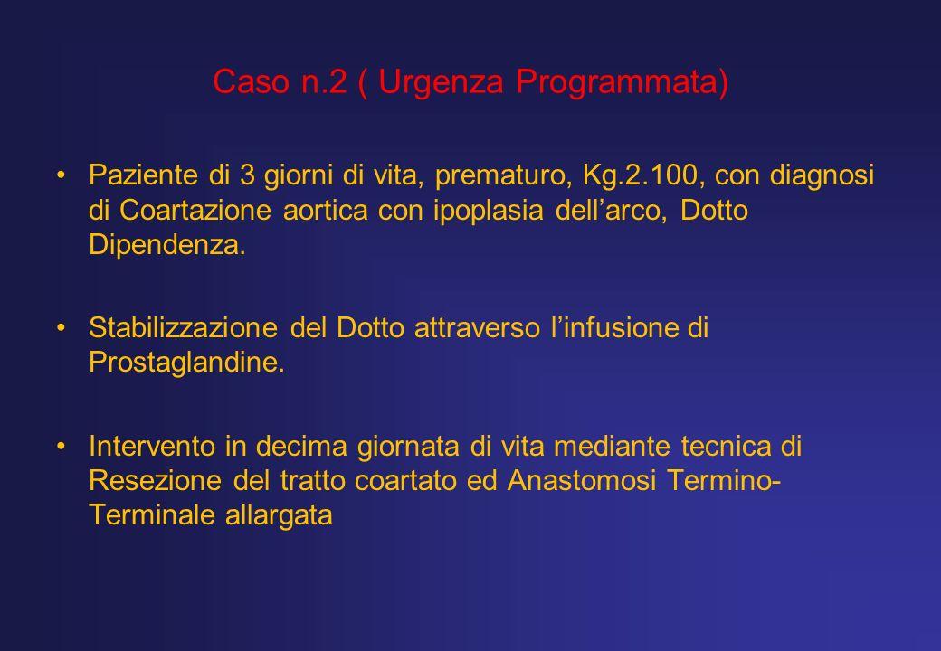 Caso n.2 ( Urgenza Programmata) Paziente di 3 giorni di vita, prematuro, Kg.2.100, con diagnosi di Coartazione aortica con ipoplasia dellarco, Dotto D