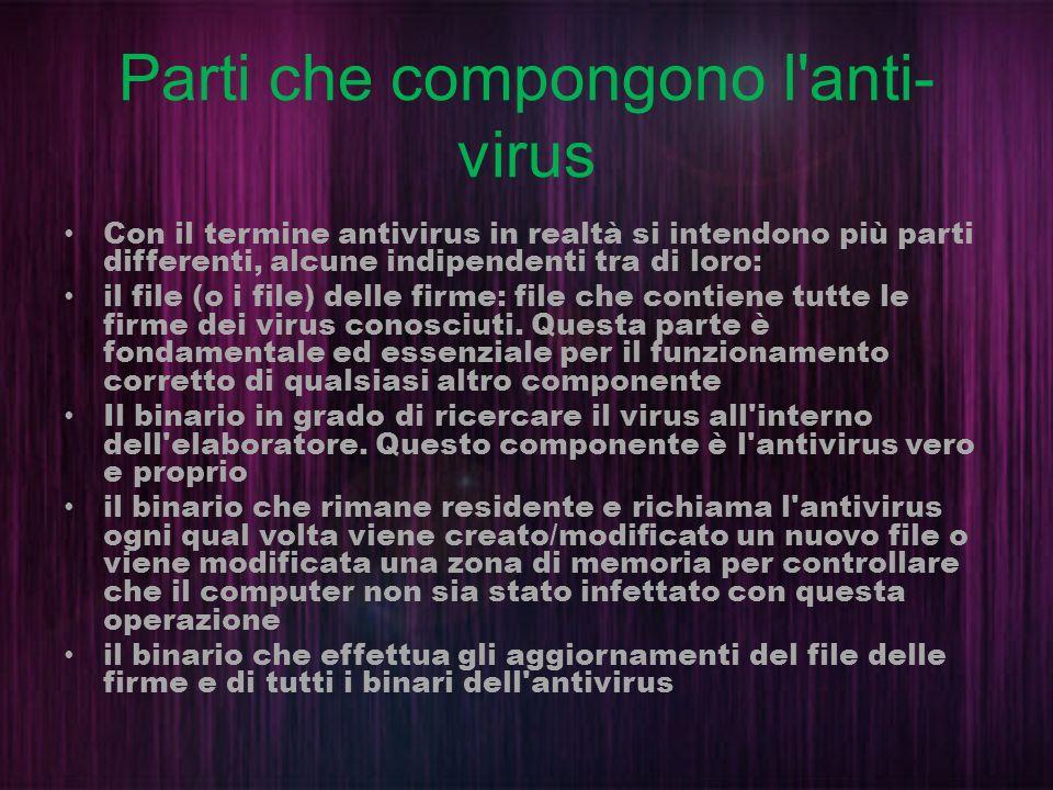 Parti che compongono l'anti- virus Con il termine antivirus in realtà si intendono più parti differenti, alcune indipendenti tra di loro: il file (o i