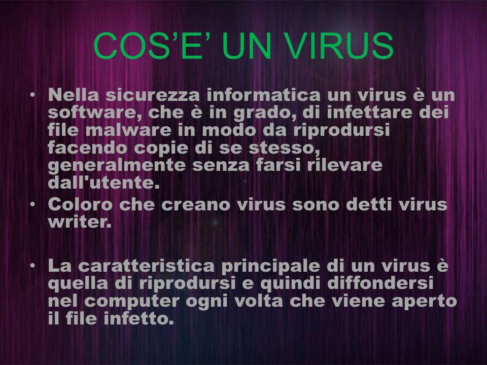 COSE UN VIRUS Nella sicurezza informatica un virus è un software, che è in grado, di infettare dei file malware in modo da riprodursi facendo copie di
