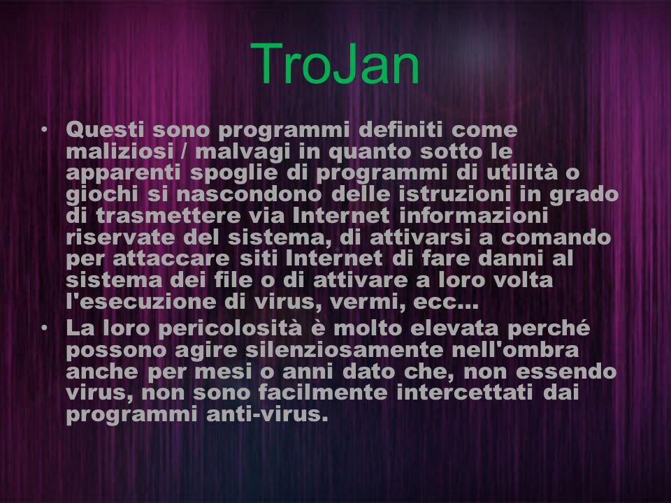 TroJan Questi sono programmi definiti come maliziosi / malvagi in quanto sotto le apparenti spoglie di programmi di utilità o giochi si nascondono del