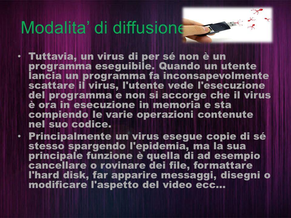 Modalita di diffusione Tuttavia, un virus di per sé non è un programma eseguibile. Quando un utente lancia un programma fa inconsapevolmente scattare