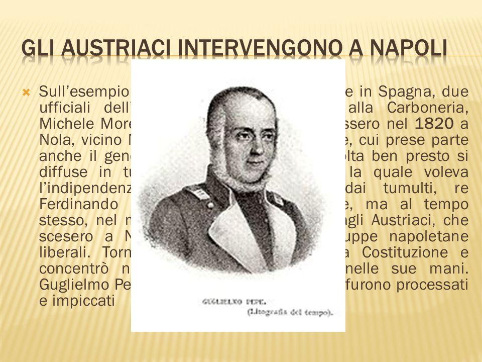Gli eventi di Spagna e Regno delle Due Sicilie si ripercossero anche in Piemonte, dove nel marzo del 1821 si ammutinarono le guarnigioni di intere città, Torino compresa.