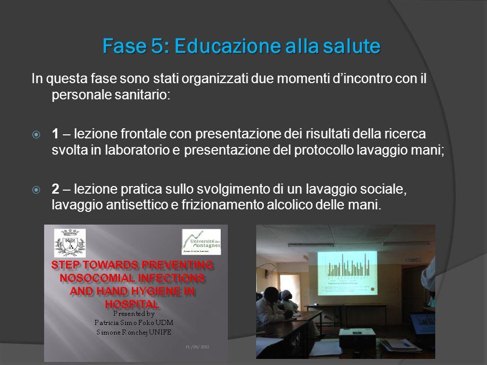 Fase 5: Educazione alla salute In questa fase sono stati organizzati due momenti dincontro con il personale sanitario: 1 – lezione frontale con presen
