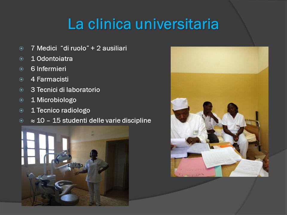 La clinica universitaria 7 Medici di ruolo + 2 ausiliari 1 Odontoiatra 6 Infermieri 4 Farmacisti 3 Tecnici di laboratorio 1 Microbiologo 1 Tecnico rad