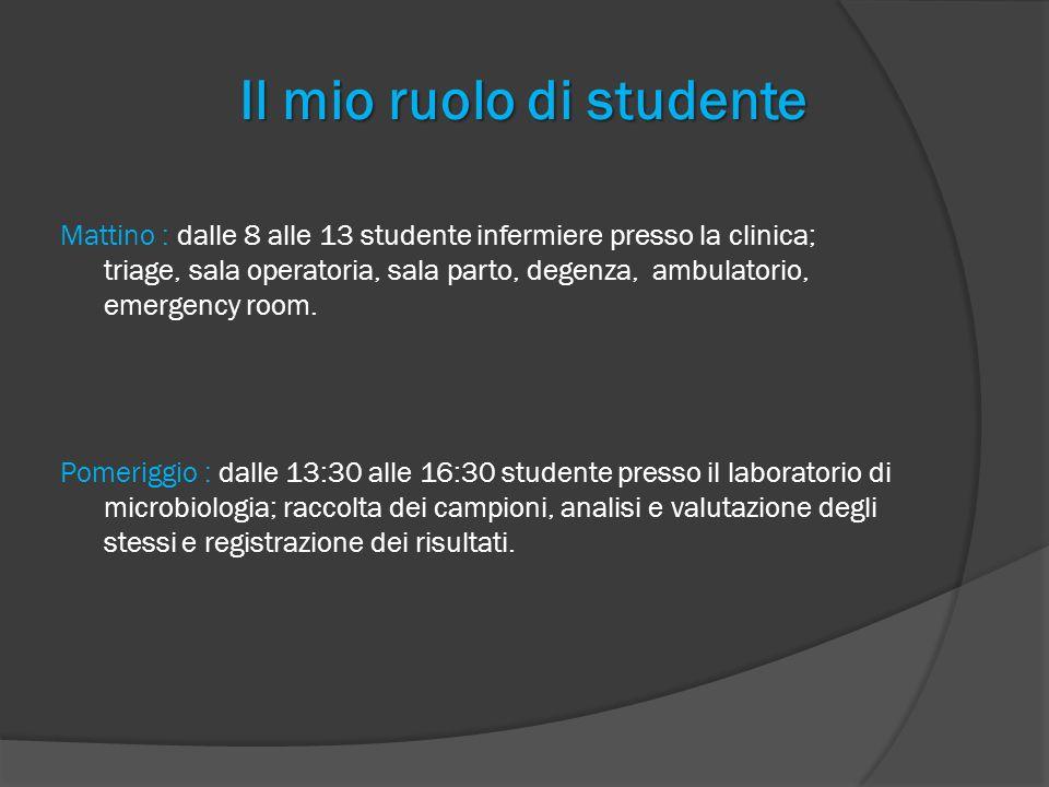 Il mio ruolo di studente Mattino : dalle 8 alle 13 studente infermiere presso la clinica; triage, sala operatoria, sala parto, degenza, ambulatorio, e