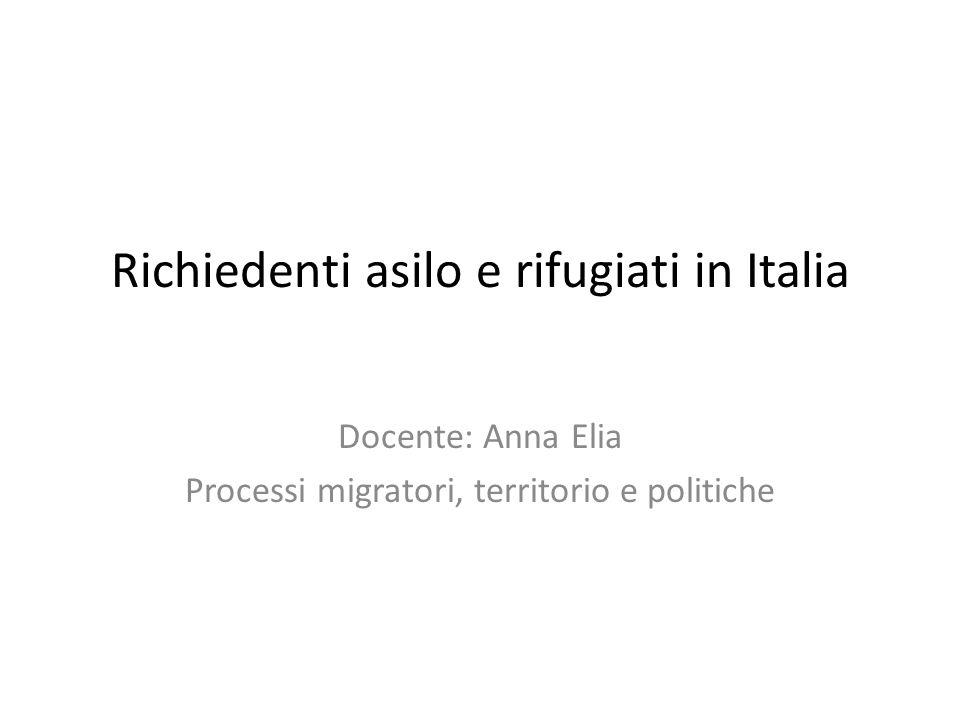 Richiedenti asilo e rifugiati in Italia Docente: Anna Elia Processi migratori, territorio e politiche