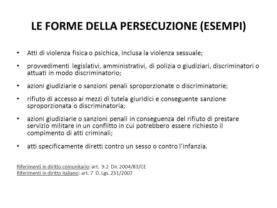 LE FORME DELLA PERSECUZIONE (ESEMPI) Atti di violenza fisica o psichica, inclusa la violenza sessuale; provvedimenti legislativi, amministrativi, di p