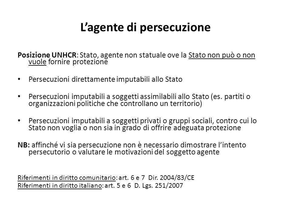 Lagente di persecuzione Posizione UNHCR: Stato, agente non statuale ove la Stato non può o non vuole fornire protezione Persecuzioni direttamente impu