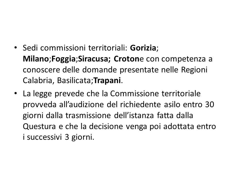 Sedi commissioni territoriali: Gorizia; Milano;Foggia;Siracusa; Crotone con competenza a conoscere delle domande presentate nelle Regioni Calabria, Ba